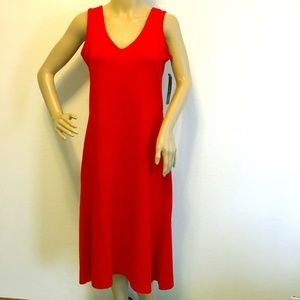 Classic Long Mid Calf Red Stretchy Dress